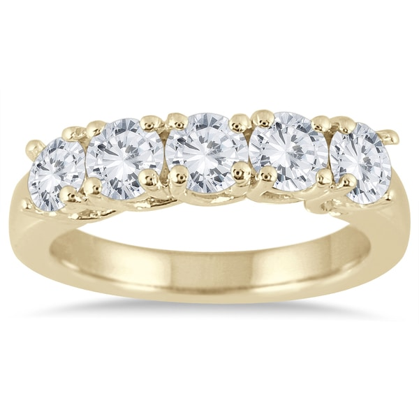 Marquee Jewels 14k Yellow Gold 1 1/2ct TDW Diamond 5 Stone Band