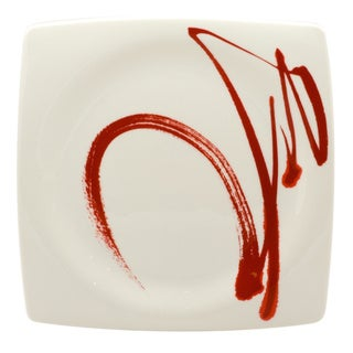 Red Vanilla 'Paint it Red' White and Red Porcelain Set of 6 10.5-inch Dinner Plates