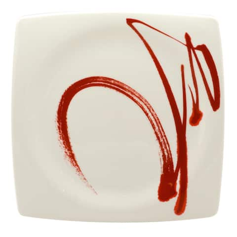"""Paint it Red Square Dinner Plate 10.5"""" Set of 6"""