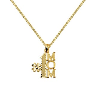 14k Yellow Gold #1 Mom Mother's Day Pendant with 1.5-mm Flat Wheat Chain (5 options available)