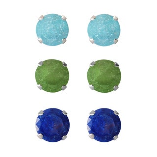 Set of 3-pair Sterling Silver 5.25-mm Turquoise, Dark Green, Bright Blue Ice Cubic Zirconia Stud Earrings