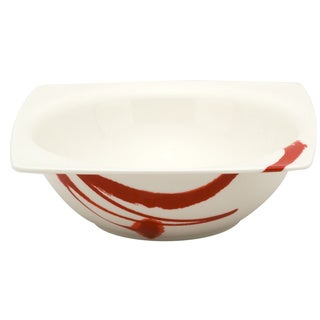 """Paint It Red Square Cereal Bowl 6"""" 10oz (Set of 6)"""
