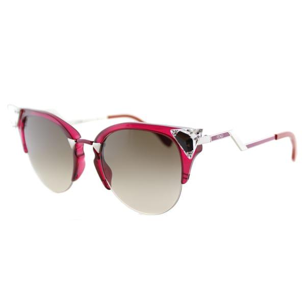de30252310 Fendi FF 0041 NHK Iridia Cherry Palladium Plastic Cat-Eye Brown Gradient  Lens Sunglasses