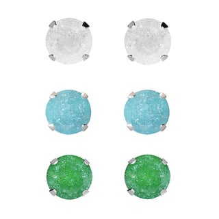 Set of 3-pair Sterling Silver 5.25-mm White, Turquoise, Green Ice Cubic Zirconia Stud Earrings