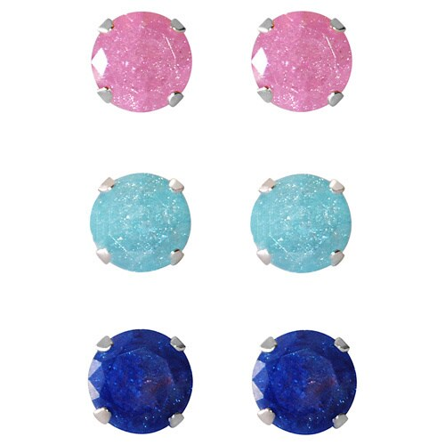 Set Of 3 Pair Sterling Silver 4 25 Mm Pink Turquoise Bright Blue