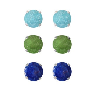 Set of 3-pair Sterling Silver 4.25-mm Turquoise, Dark Green, Bright Blue Ice Cubic Zirconia Stud Earrings