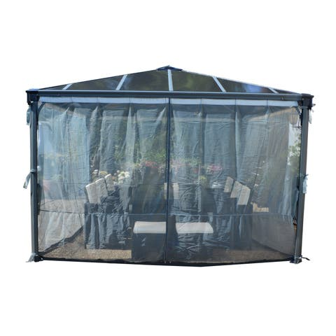 Palram Palermo and Milano Garden Gazebo Netting 4-Piece Set Grey