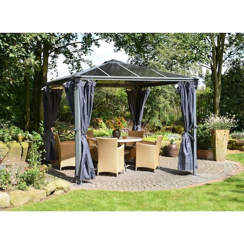 Palram Palermo and Milano Garden Gazebo Curtain 4-Piece Set Grey