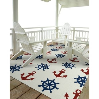 Indoor/Outdoor Beachcomber Helm Ivory Rug (7'6 x 9')