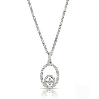 Kabella Sterling Silver Cubic Zirconia Oval Rope Edge Design Pendant