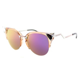 Fendi FF 0041 9F6 Iridia Transparent Peach Plastic Cat-Eye Purple Mirror Lens Sunglasses