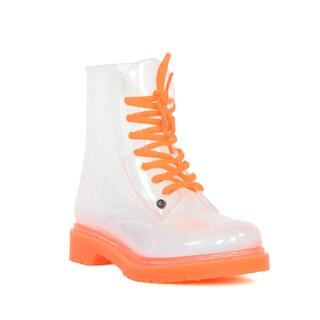 G Six Ladies' Ginny Orange See-through Rainboots