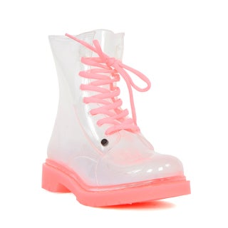 G Six Ladies' See Through Clear/Pink PVC Rain Boots