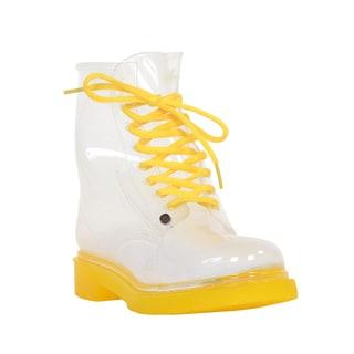Mada Luxe G Six Women's Yellow PVC See-through Rainboot