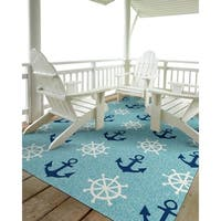 Indoor/ Outdoor Beachcomber Helm Blue Rug - 2' x 3'
