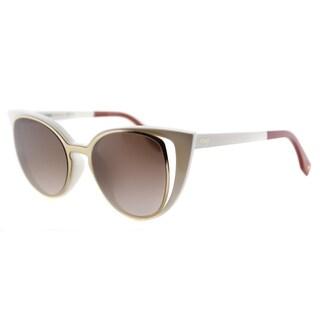 Fendi FF 0136 NZ2 Ivory And Gold Plastic, Metal Brown Gradient Lens Sunglasses