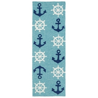 Indoor/Outdoor Beachcomber Helm Blue Rug (2' x 6')