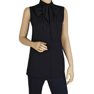 Tory Burch Women's Navy-blue Sleeveless Tie-front Blouse
