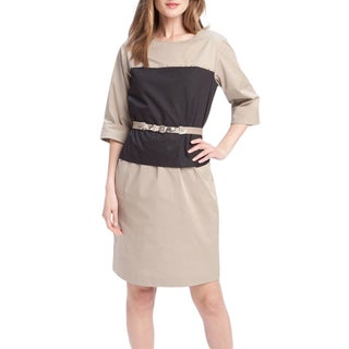 Elie Tahari Women's Chiles Beige Cotton Size 8 Knee-length 3/4-sleeve Sheath Dress
