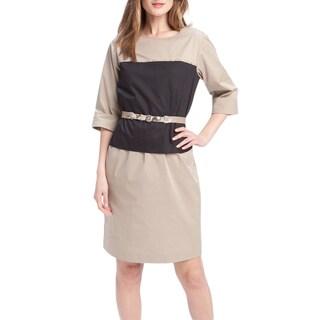 Elie Tahari Women's Chiles Beige Cotton Size 8 Knee-length 3/4-sleeve Sheath Dress