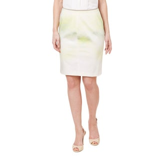 T Tahari Women's Wesley Lime Ombre Cotton/Elastene Mini Skirt