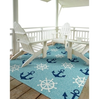 Indoor/Outdoor Beachcomber Helm Blue Rug (5' x 7'6)