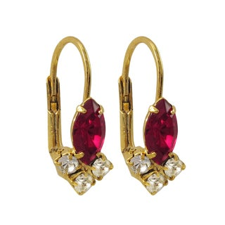 Luxiro Gold or Rhodium Finish Fuchsia and White Crystals Leverback Earrings
