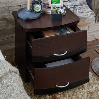 Furniture of America Kindred Modern Espresso 2-drawer Nightstand