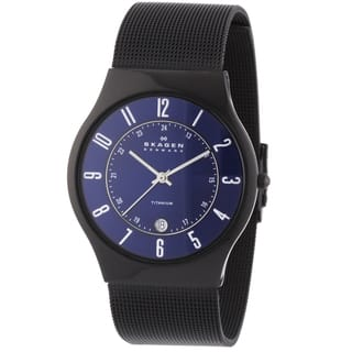Skagen Men's Slim Black Titanium Sunray Blue Dial Watch|https://ak1.ostkcdn.com/images/products/11817414/P18723880.jpg?impolicy=medium