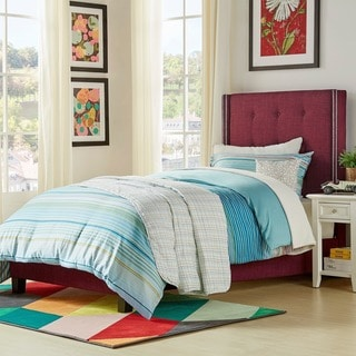 IQ KIDS Marion Nailhead Wingback Tufted TWIN-sized Upholstered Bed