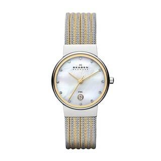 Skagen 355SSGS Women's Two-tone Stainless Steel Mother of Pearl Quartz Watch