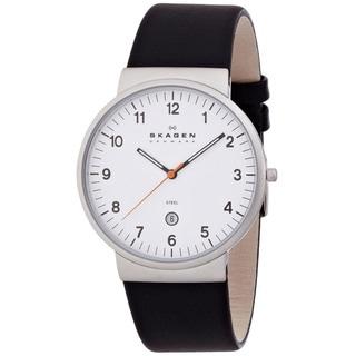 Skagen Ancher SKW6024 Men's Black Leather White Dial Quartz Watch