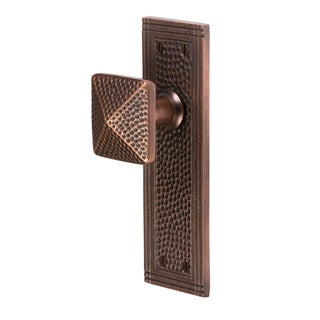 The Copper Factory CF183 Solid Cast Brass Hammered Appearance Rectangular Passage Door Set (Option: Copper Finish)