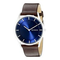 Skagen Men's  Holst Slim Watch with Brown Leather Strap and Blue Dial