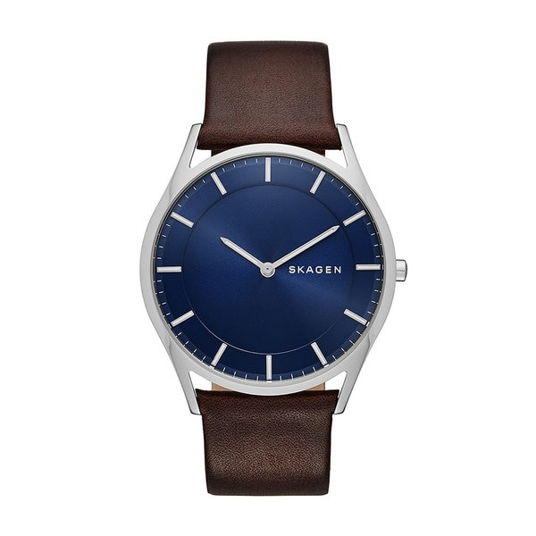 Skagen Men's SKW6237 Holst Slim Watch with Brown Leather Strap and Blue Dial