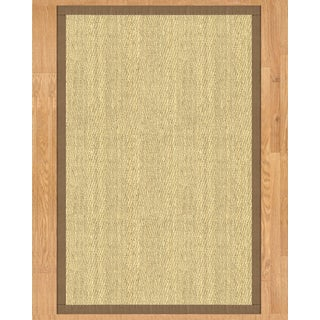 Handcrafted Costa Rica Natural Seagrass Rug - Taupe Binding, (8' x 10') with Bonus Rug Pad
