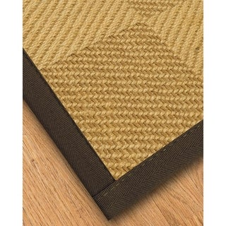 Hnadcrafted Oberon Natural Sisal Rug - Dark Brown Binding, (9' x 12') with Bonus Rug Pad