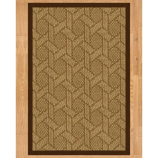 Handcrafted Seattle Natural Sisal Rug - Brown Binding, 9' x 12' with Bonus Rug Pad