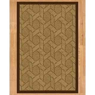 Handcrafted Seattle Natural Sisal Rug - Brown Binding, 9' x 12' with Bonus Rug Pad