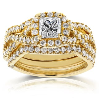 Annello by Kobelli 14k Yellow Gold 1 2/5ct TDW Princess Diamond Halo Crossover Bridal Rings Set