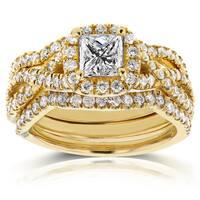 Annello by Kobelli 14k Yellow Gold 1 2/5ct TDW Princess Diamond Halo Crossover Bridal Rings Set