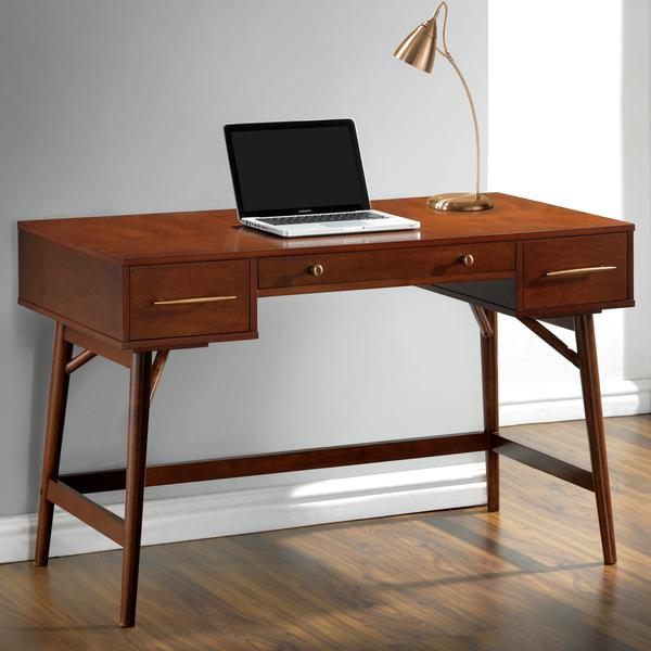 Mid Century Modern Design Home Office Writing/ Computer Desk With Drawers