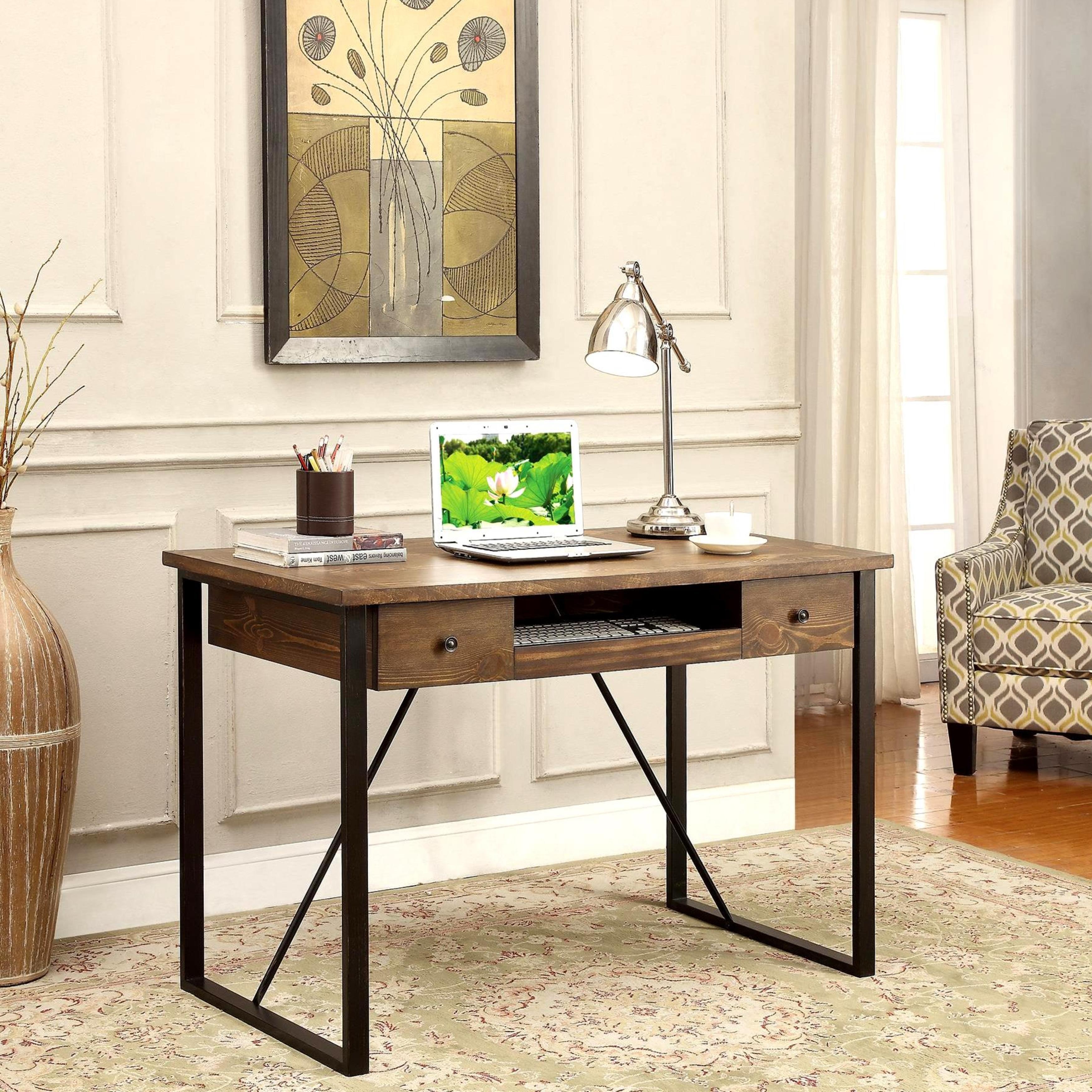 Shop Black Friday Deals On Schevron Mid Century Industrial Rustic Design Home Office Computer Writing Desk With Keyboard Drawer Overstock 11817760