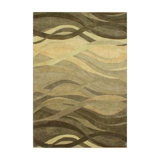 Alliyah Green Waves Olive Green Wool Hand-carved Rug (8' x10')