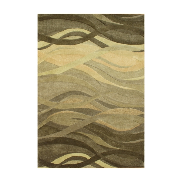 Shop Alliyah Green Waves Olive Green Wool Hand Carved Rug