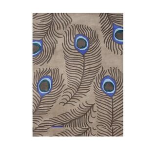 Alliyah Mocha Wool Modern Luxurious Peacock Feathers Decorative Accent Rug (5' x 8')