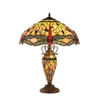 Chloe Tiffany Style Dragonfly Design Double Lit 2 + 1-light Dark Bronze Table Lamp