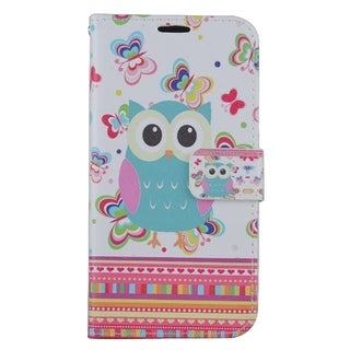 Samsung Galaxy S7 Multicolored PU Leather Owl and Butterfly Phone Pouch