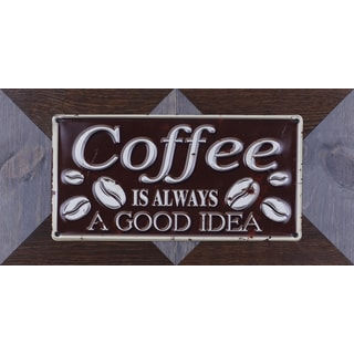 Sam O.'s 'Coffee Good Idea' 22.25X11.25 Wood With Metal Accent Wall Art