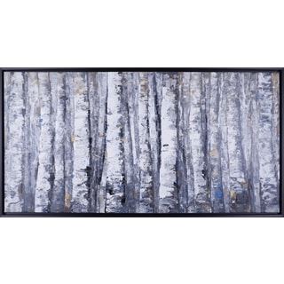 Anastasia C.'s 'Birch Tree Gold' 26.5X50.5 Black-framed Canvas Wall Artwork
